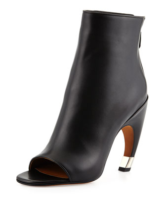 Givenchy Open-Toe Curve-Heel Bootie, Black/Silver