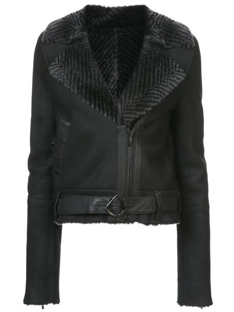 Kimora Lee Simmons jacket bomber jacket fur women black chevron