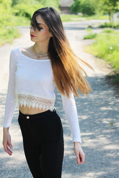 Top: crop tops, sleeves, white, white crop tops, jeans, black ...
