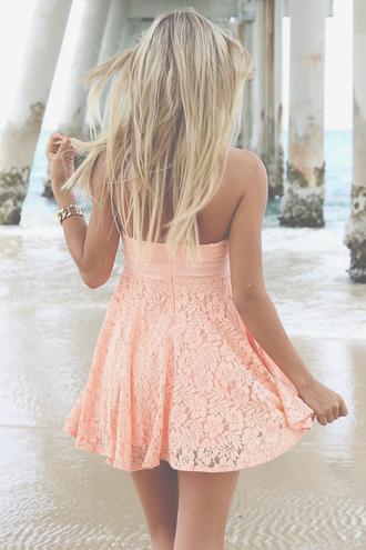 dress mini dress lace pink summer dress