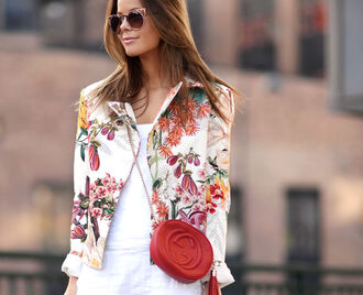 stylista blogger jacket gucci bag red bag floral tropical floral jacket cat eye