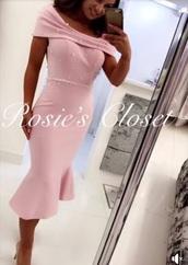 dress,pastel,midi dress,fishtail dress,pink dress,embellished