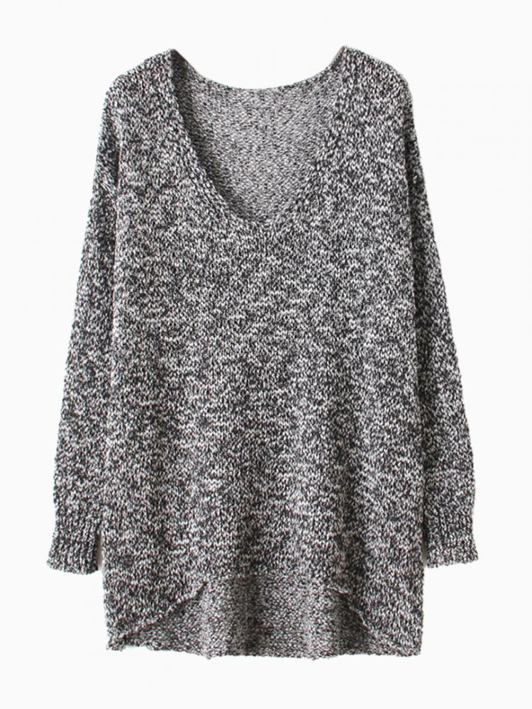 Gray Metallic Yarn Sweater With Dipped Hem | Choies