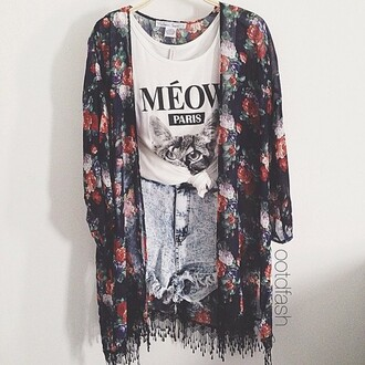 cardigan floral black navy white outfit girly chiffon meow paris high waisted shorts acid wash shirt shorts blouse ripped acid wash shorts flower cardigan meow top