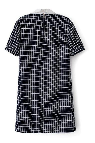 Square Neck Grid Loose Short Sleeve Dress