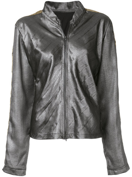 Zambesi - contrast panel lightweight bomber jacket - women - Polyester - 12, Grey, Polyester in metallic
