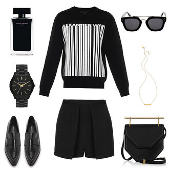 oracle fox blogger sunglasses alexander wang black watch perfume all black everything pointed toe black shorts skirt