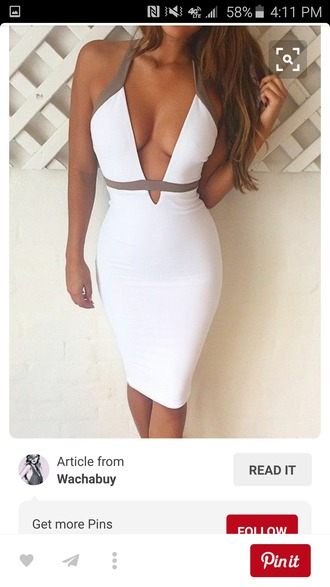 dress white white dress bodycon bodycon dress plunge v neck party dress sexy party dresses sexy dress summer dress summer outfits spring dresss spring dress spring outfits classy dress elegant dress cocktail dress date outfit birthday dress prom prom dress white prom dress short prom dress romantic dress romantic summer dress girly girly dress cute cute dress