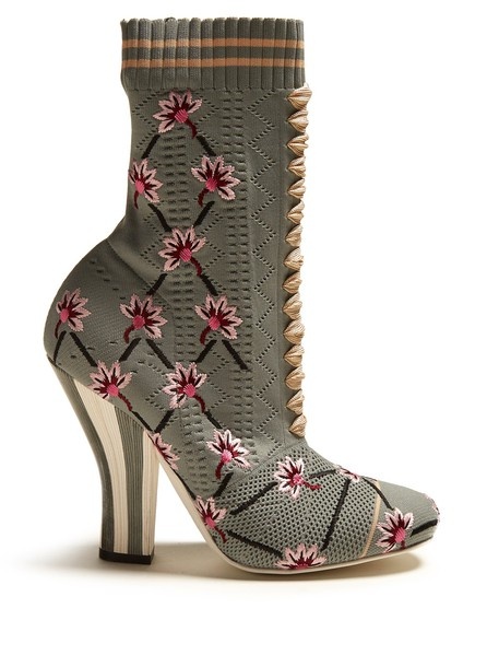 heel sock boots embroidered floral blue shoes