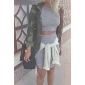 dress,grey,crop tops,two piece dress set,jacket,nail accessories