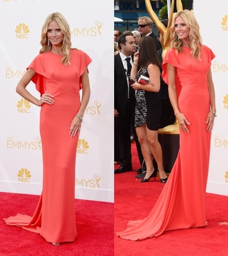 heidi klum emmys 2014 zac posen coral dress shoes