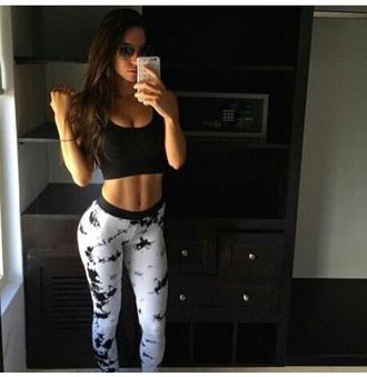 leggings sportswear workout leggings printed leggings white black