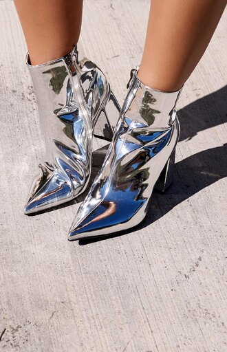 shoes beginning boutique silver boots pointed toe pumps pointed toe metallic metallic shoes