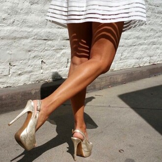skirt angl shoes snake skin pumps slingback heels gold heels gold stripes pleated pleated skirt black white fashion instagram chic
