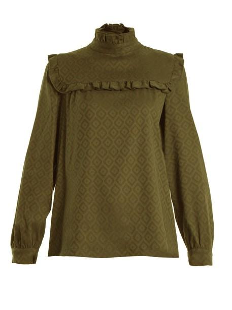 A.P.C. blouse jacquard geometric khaki top