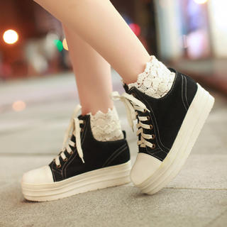 Lace-Trim Platform Sneakers - 77Queen | YESSTYLE United Kingdom