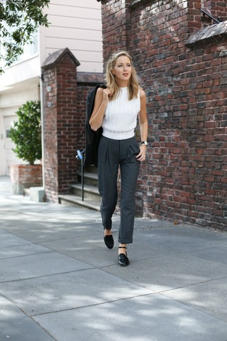 the classy cubicle blogger grey pants office outfits