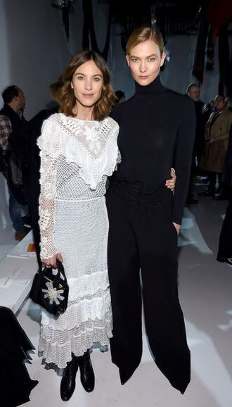 pants dress alexa chung model off-duty karlie kloss all black everything white white dress ny fashion week 2017 fashion week 2017 lace lace dress white lace dress turtleneck nyfw 2017