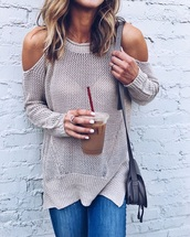 sweater,grey sweater,cut out shoulder,nude sweater,coffee,nail polish,ring,bag,grey bag,shoulder bag
