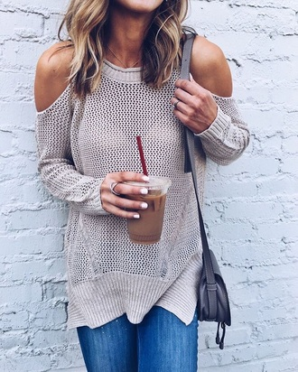 sweater grey sweater cut out shoulder