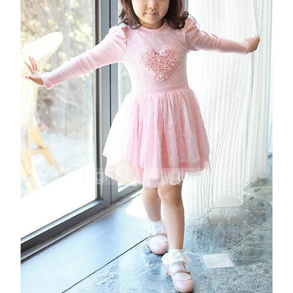 Charming pink heart shape flounced tulle lace princess dress_$16.12