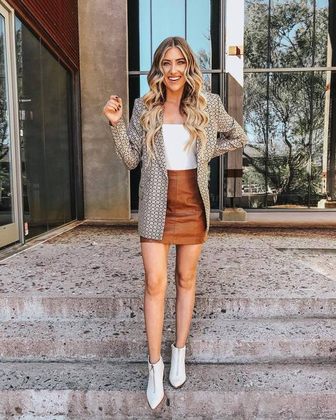 jacket blazer printed blazer metallic double breasted ankle boots white boots mini skirt leather skirt off the shoulder top white top
