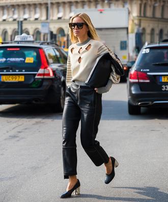 pants leather pants nude sweater tumblr black pants black leather pants shoes black shoes sweater sunglasses bag black bag stockholm fashion week