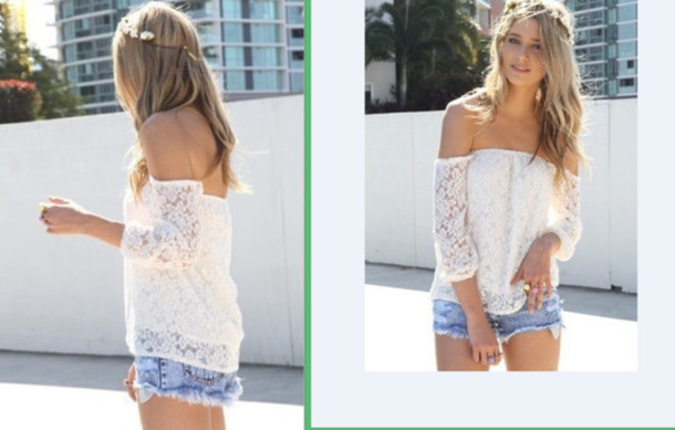 blouse white top strapless shorts denim shorts mini shorts summer outfits blue sun crochet top shirt t-shirt dress cute fashion girly vintage off the shoulder top boatneck backless hollow out white shirt peasant top