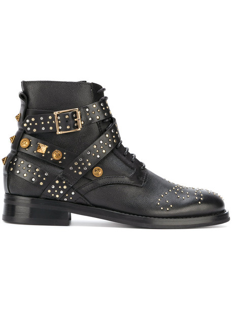 FAUSTO PUGLISI studded women leather black shoes