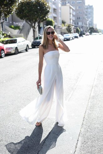 memorandum blogger jumpsuit shoes bag sunglasses jewels white jumpsuit