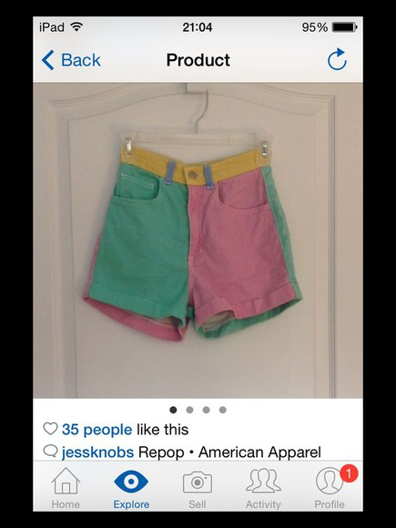 american apparel color block short american apparel short color block