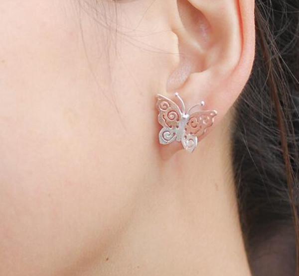 jewels retro 925 sterling silver earrings butterfly earrings