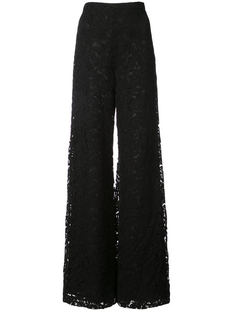 Adam Lippes women lace cotton black pants