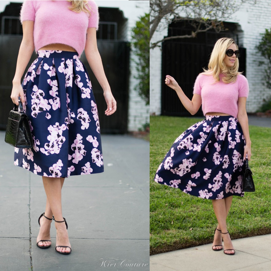 on Navy Floral Midi Skirt - Retro, Indie and Unique Fashion