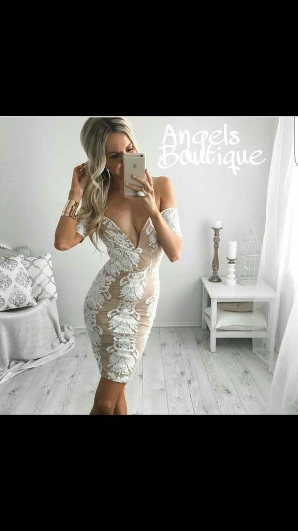 dress white dress bodycon dress sexy dress off the shoulder dress