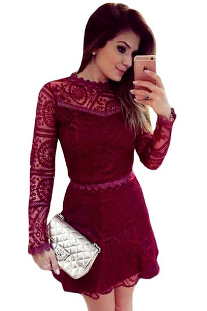 06538318ae dress lace dress mini dress red dress party dress sext dress cute dress  long sleeve dress