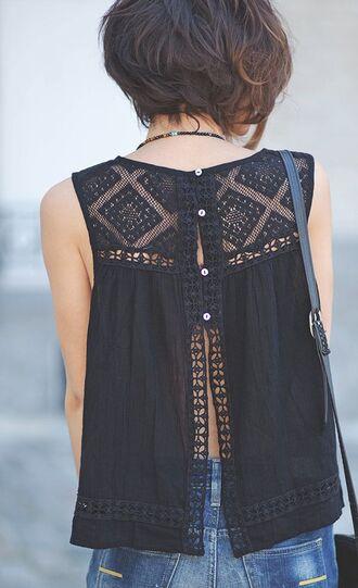 blouse shirt tank top lace high colar black tank top black