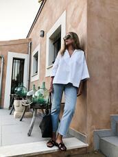 trini,blogger,sunglasses,top,jeans,jewels,shoes,bag