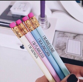 home accessory pencils colorful white purple quote on it