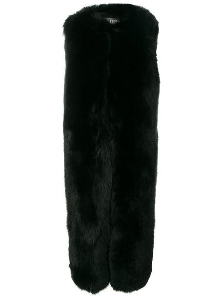 coat sleeveless coat sleeveless fur fox women black silk