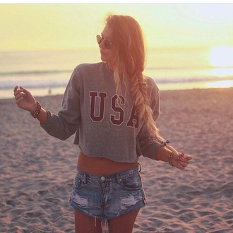 top usa shirt crop tops