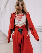 pants,tumbr,red pants,high waisted pants,t-shirt,white t-shirt,jacket,red jacket,belt,matching set,spring outfits,oversized