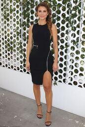 dress,maria menounos,zip,sandals,black dress,slit dress