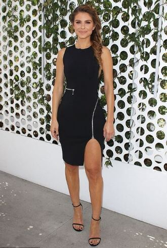 dress maria menounos zip sandals black dress slit dress