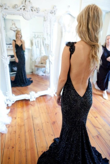 TOP SEXY LUXURY black sequins beading DEEP V BACK spaghetti straps fish tail long evening dress/gowns women custom free shipping-in Evening Dresses from Apparel & Accessories on Aliexpress.com
