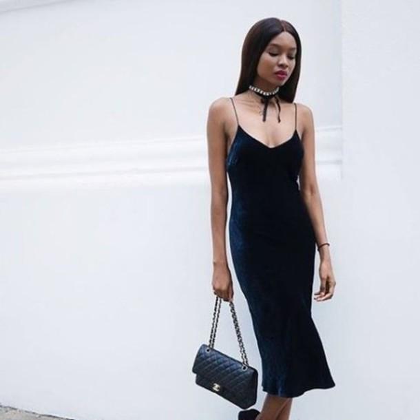 c3fcb5ba410f dress tumblr blue dress midi dress slip dress velvet dress choker necklace  necklace accessories bag black