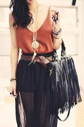bag,black,fringes,skirt,maxi skirt,maxi dress,top,boho,fashion,jewels