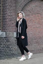 coat,white shirt,black trench coat,black trousers,white sneakers,blogger