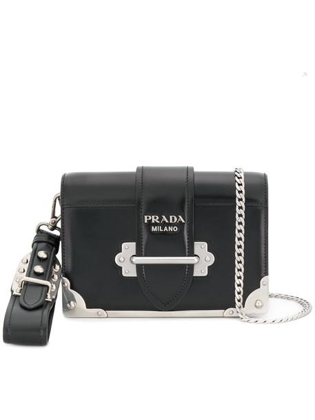 Prada women bag shoulder bag leather black