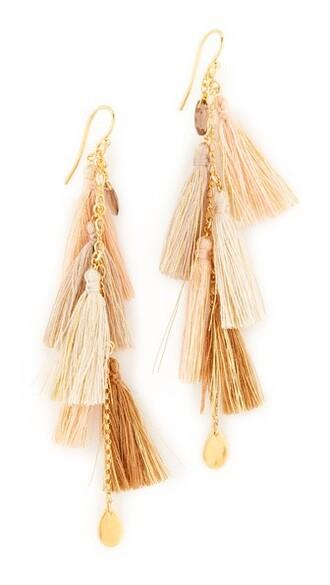 tassel earrings pink jewels